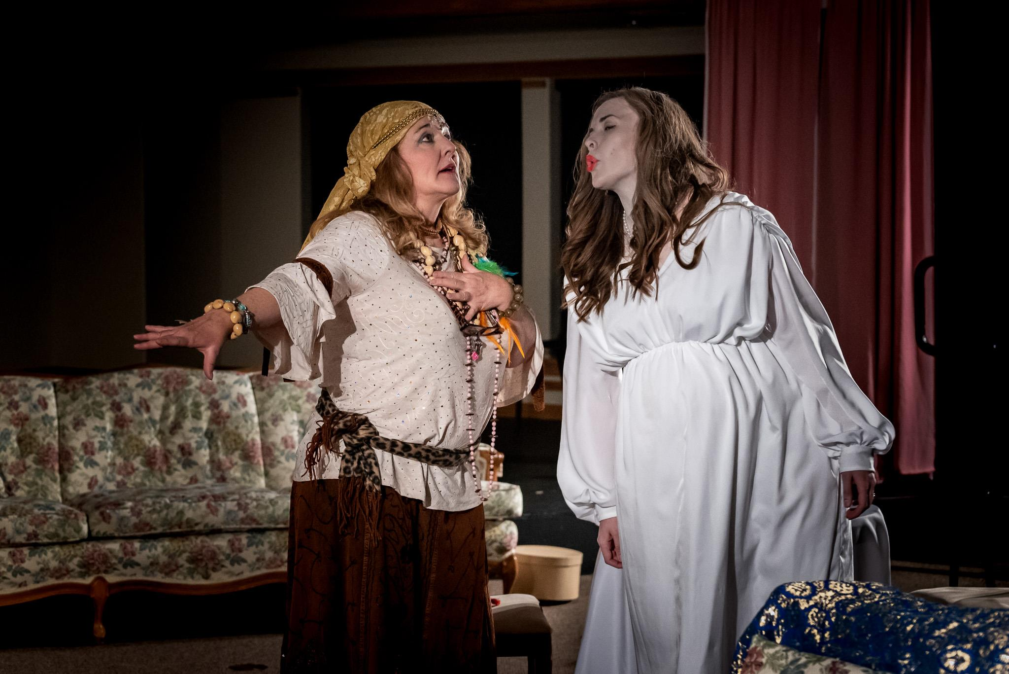 CHERYL PASKINS AS MADAME ARCATI AND HAYLEY LAMBDIN AS ELVIRA